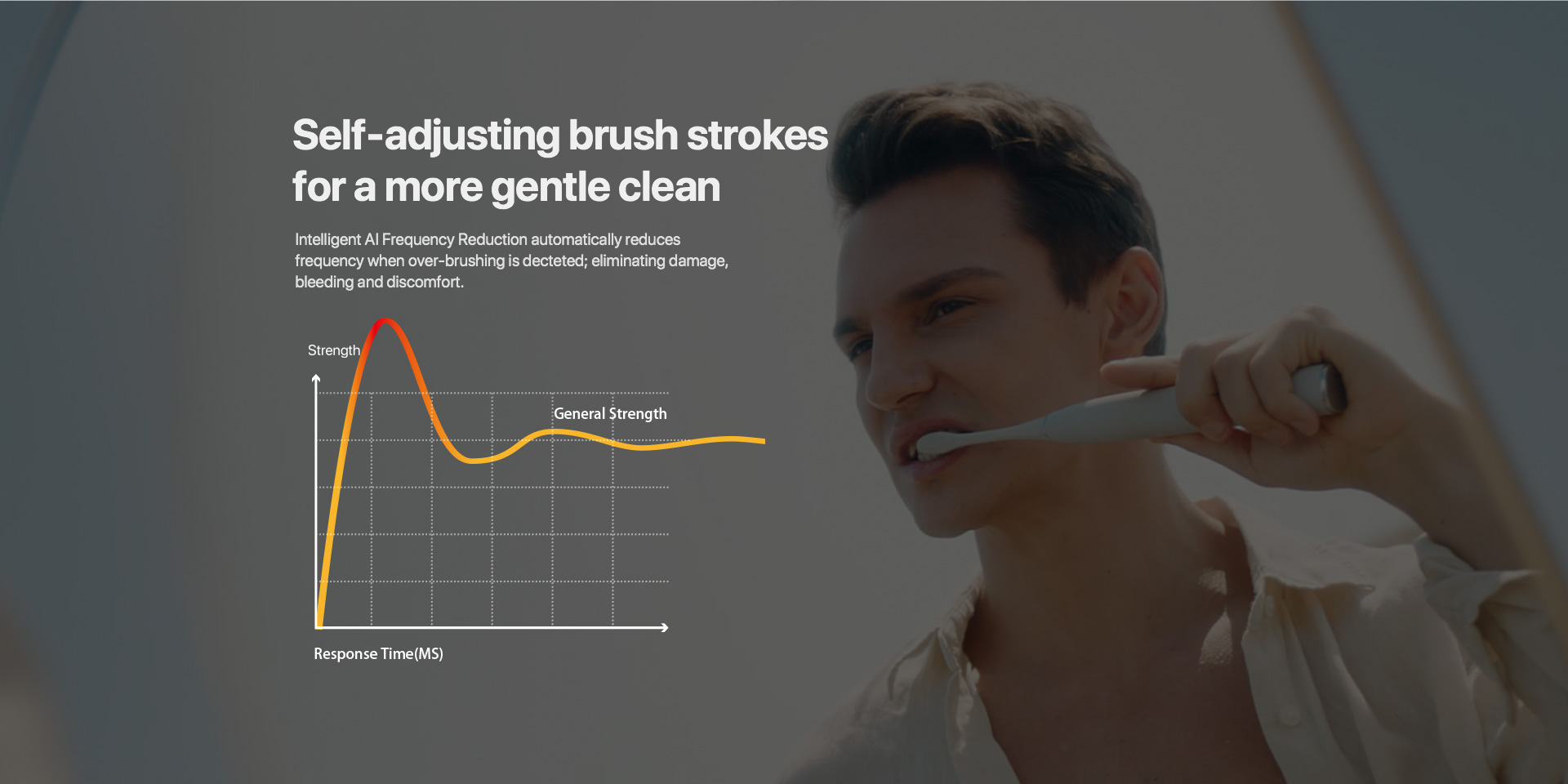 self -adjusting brush strockes for a more gentle clean