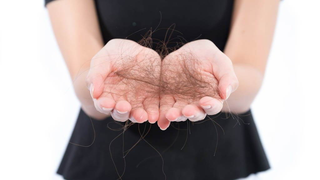 hair lost in person's hands