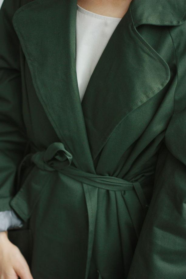 Плащ зеленый из хлопка