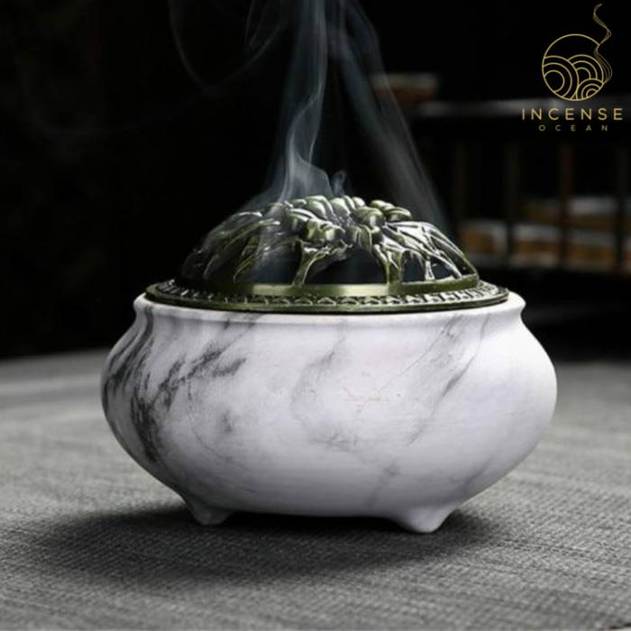 Marble Coil Censer Incense Burner Copper Cover Ceramic