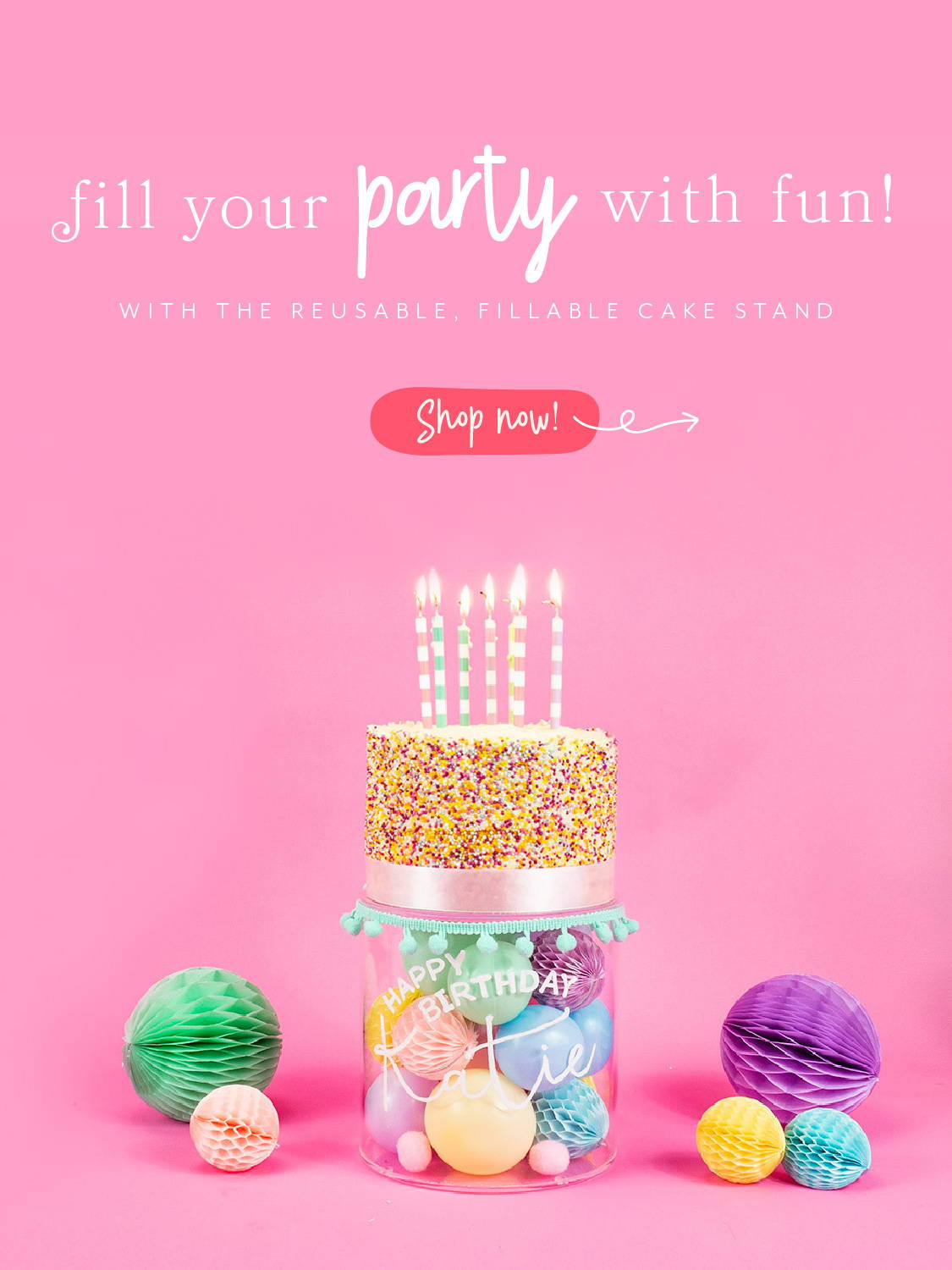 Hello Party Modern Stylish & Luxury Party Supplies Unique Fillable Cake Stand