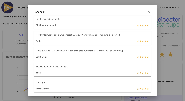 Newny Webinar Feedback Tool screenshot of Feedback from real users