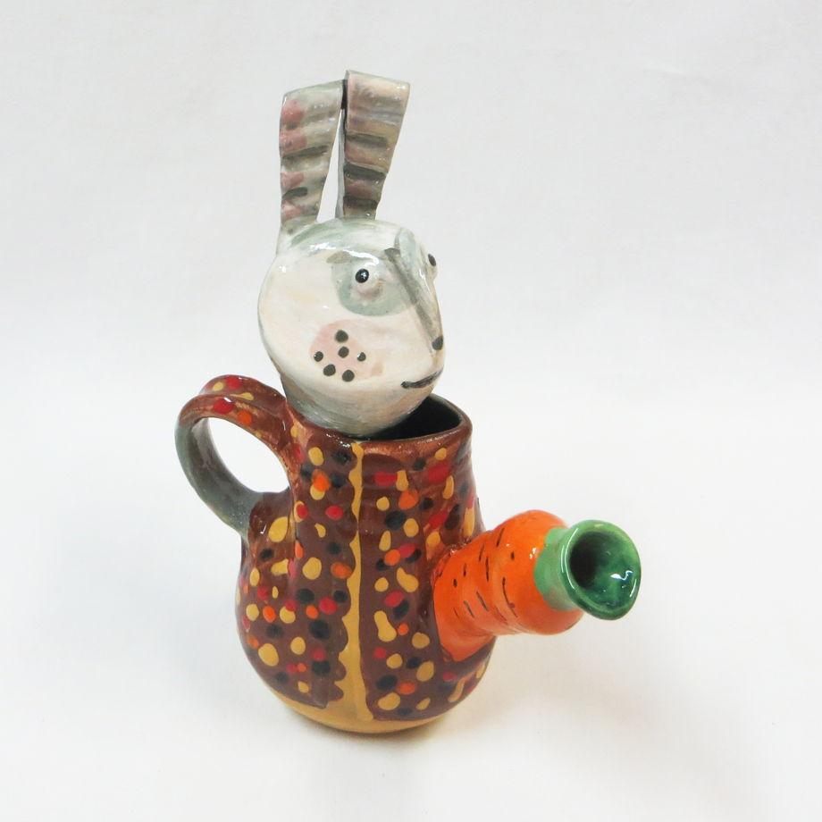 """Керамические фигурки-вазочки """"Зайцы""""."""
