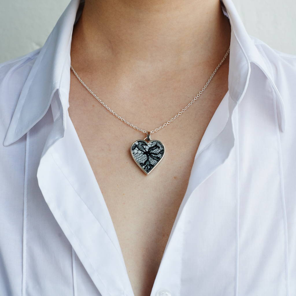 Medium Lace in Silver Heart Necklace on Silver Chain as worn - Lily Gardner London