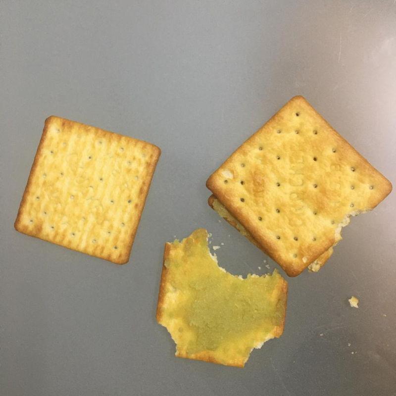 Oct 23rd, 2019 - Pandan Kaya on cream crackers. Krup...Krupp....  yummy.