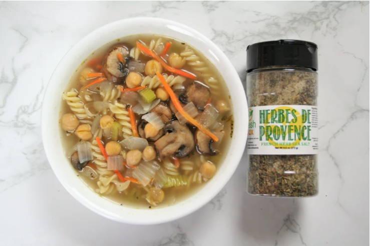 Chickpea noodle soup recipe with FreshJax Herbes de Provence Sea Salt