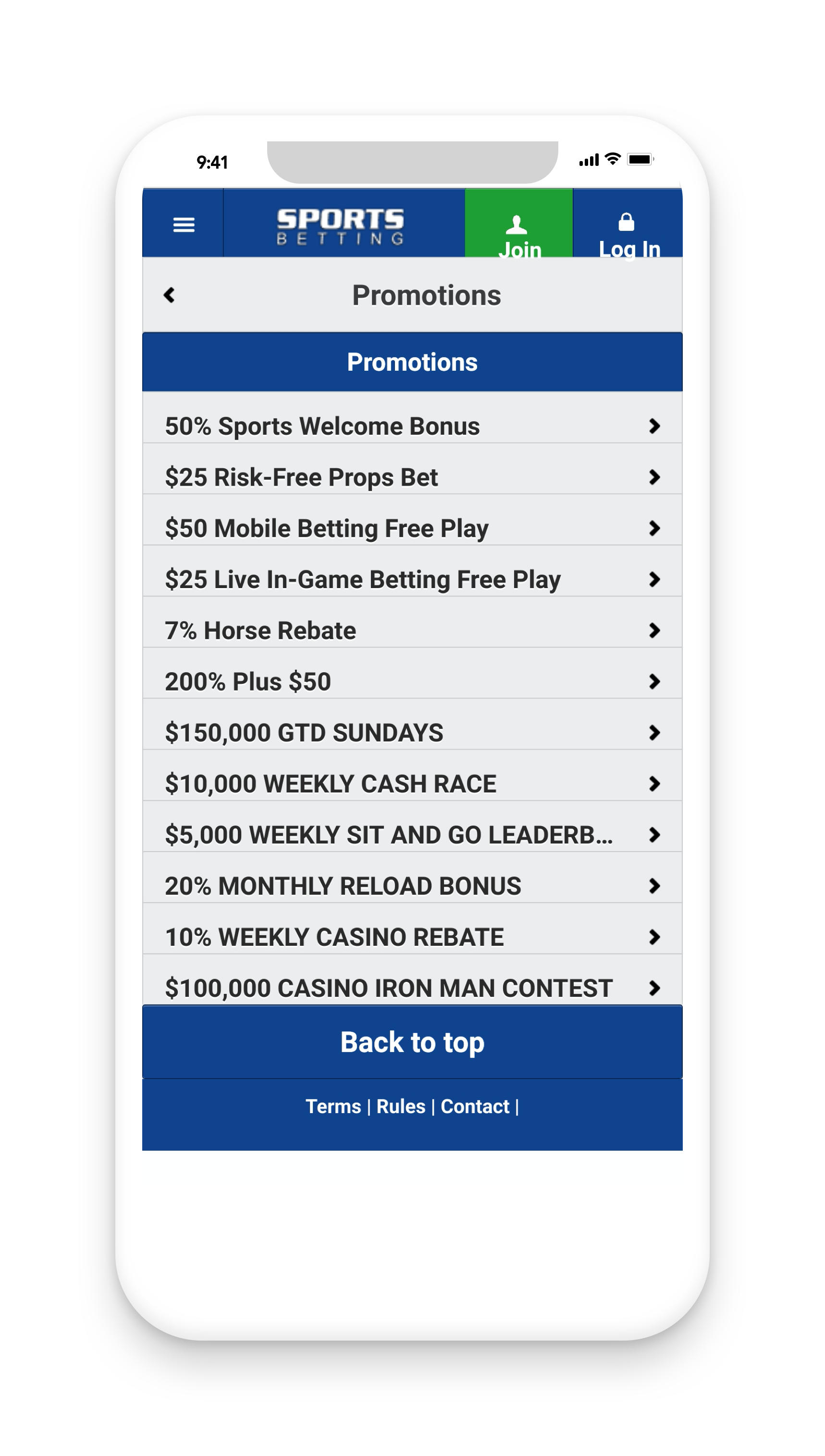 Sportsbetting Promotions Screenshot