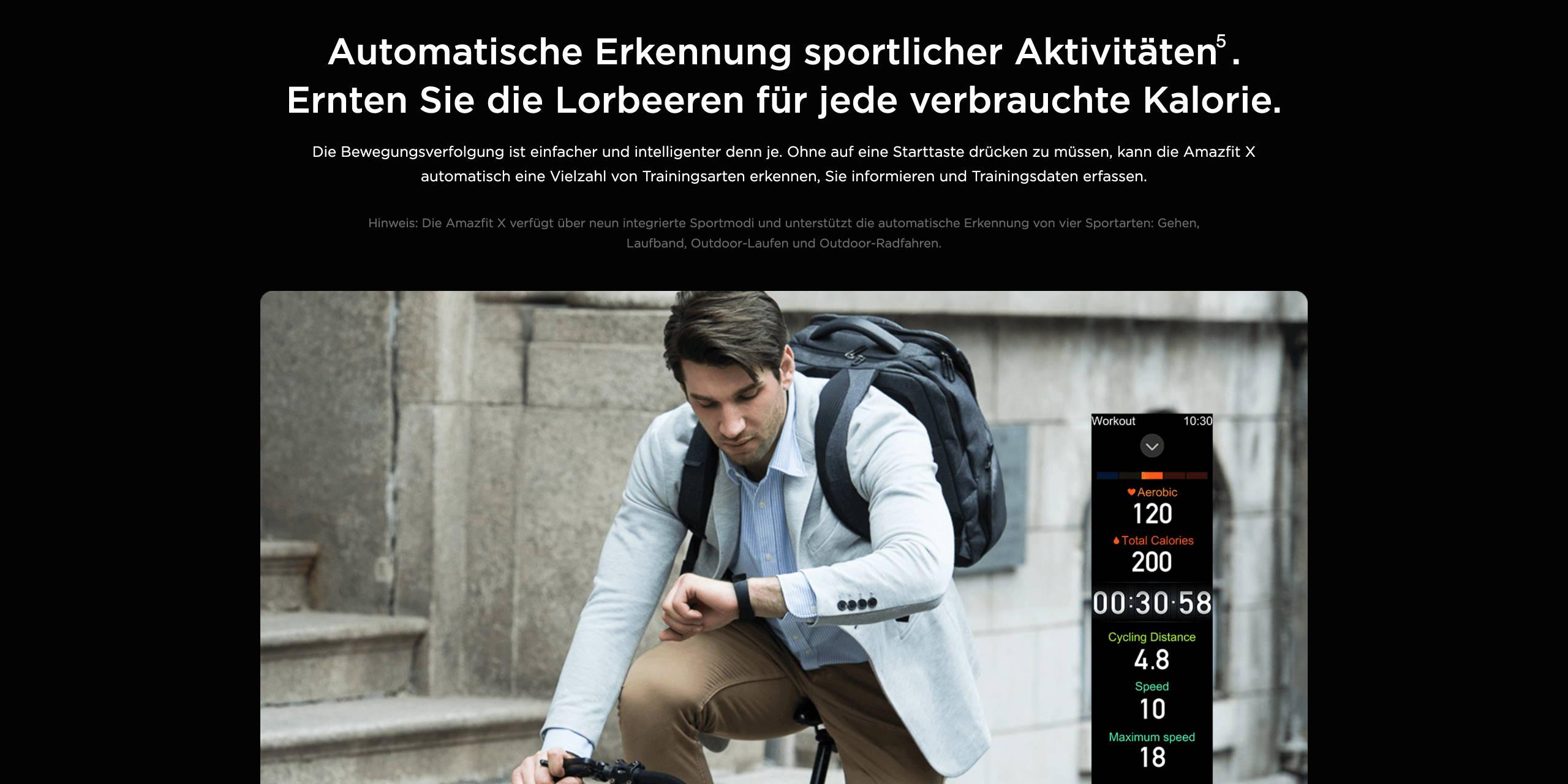 Amazfit X - Automatische Erkennung sportlicher Aktivitäten. Ernten Sie die Lorbeeren für jede verbrauchte Kalorie.