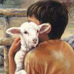 A small boy holds a lamb.