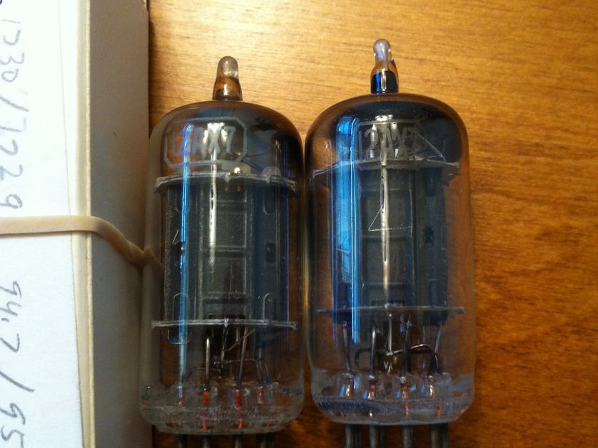 RCA 12AX7 Matched pair, 1950's tall black plates