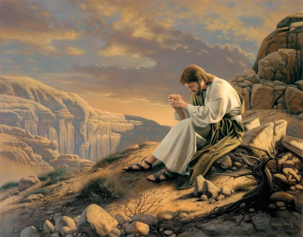 LDS art painting of Jesus praying in the desert.