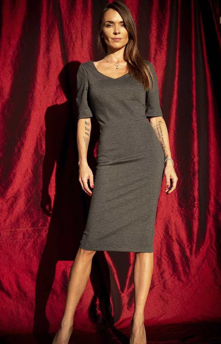 Gray Slim Fit Cotton Dress