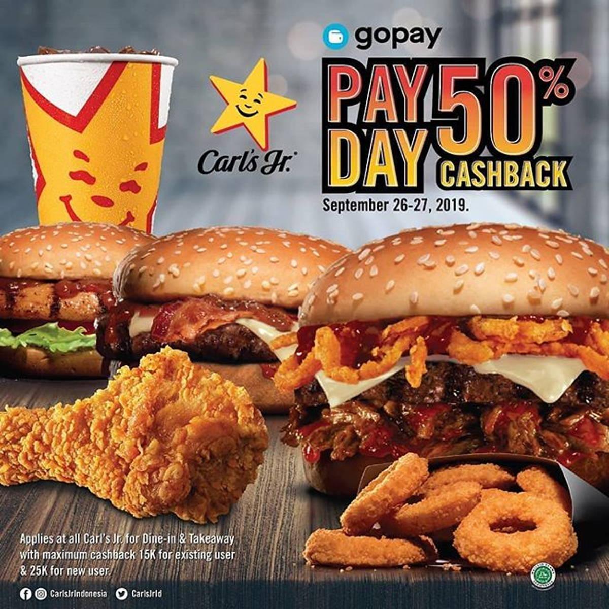 Katalog Promo: Carl's Jr.: PROMO Cashback 50% pembayaran dengan GOPAY - 1