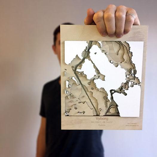 Объемная карта глубин Выборгского залива, город Выборг