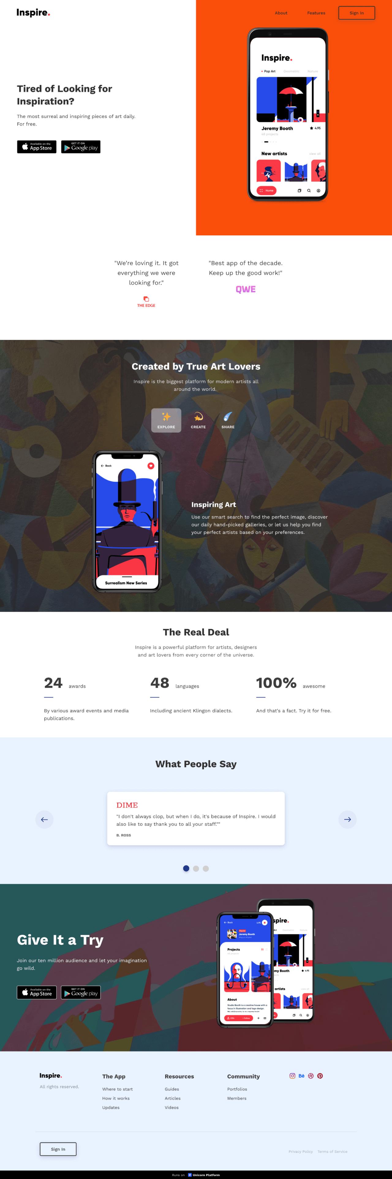 Inspiration app template