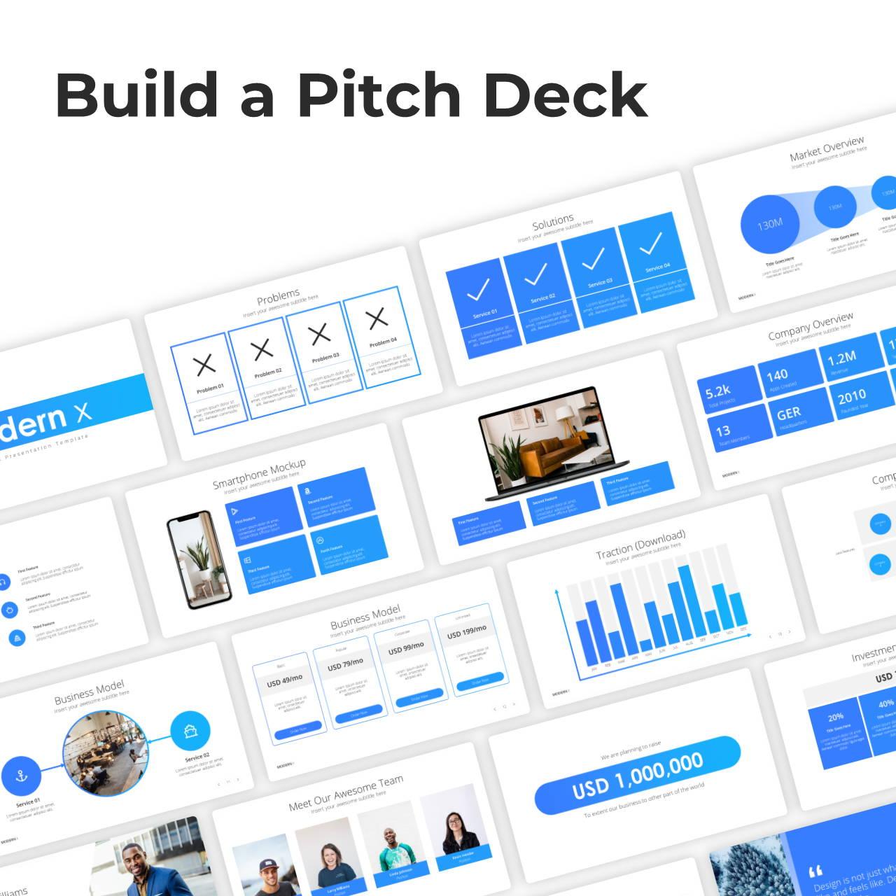 Modern X  Pitch Deck Presentation Template