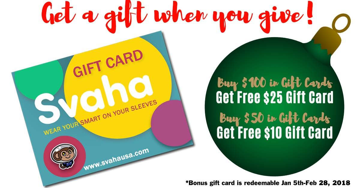 get a gift when you give. Buy $100 in gift cards, get $25 gift card, buy $50 in gift cards, get $10 gift card, gift card redeemable jan 5th-feb28th, 2018