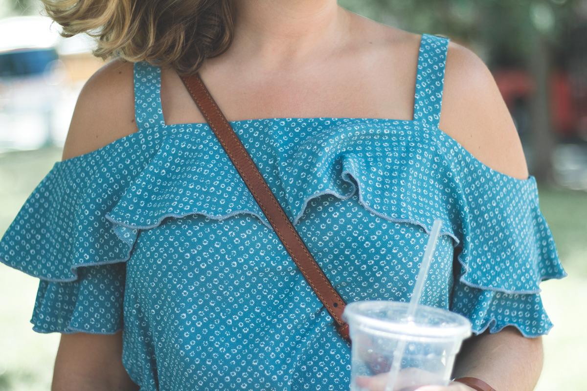 Primitive Beginnings womens summer apparel dresses travel off-shoulder blue dress