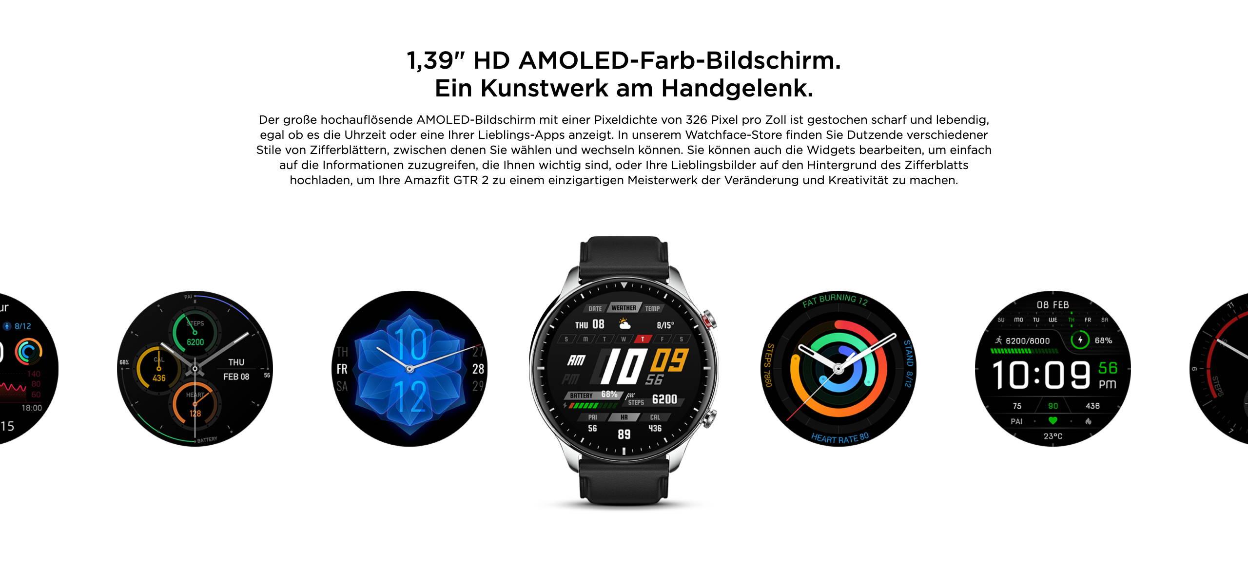 """Amazfit GTR 2 - 1,39"""" HD AMOLED-Farb-Bildschirm. Ein Kunstwerk am Handgelenk."""