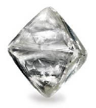 A diamond rough in perfect octahedron shape