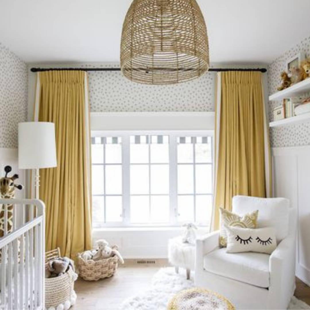 Colourful drape ideas for neutral nursery decor