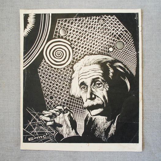 """Авторская линогравюра. """"Энштейн"""""""