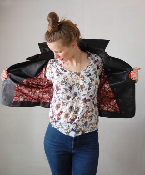 легкая куртка из натуральной кожи