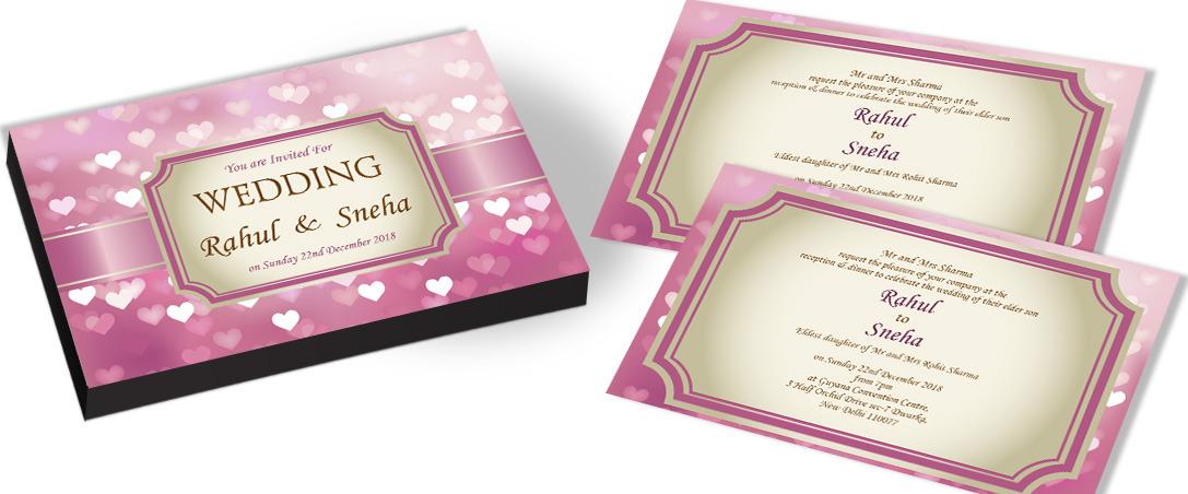 Elegant Heart Theme Invitation for Marriage
