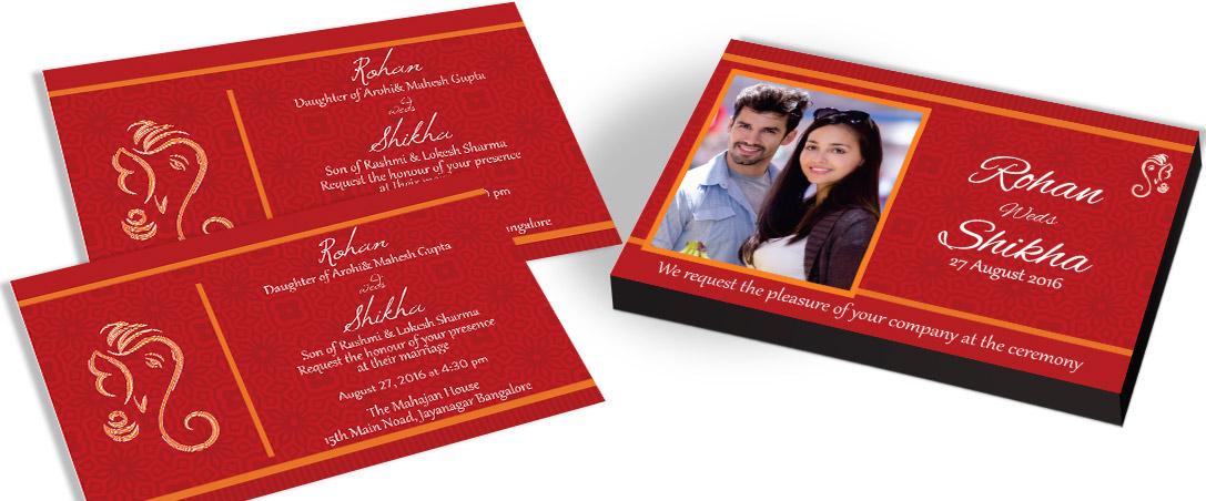 Couple photo on Marriage Invitation card