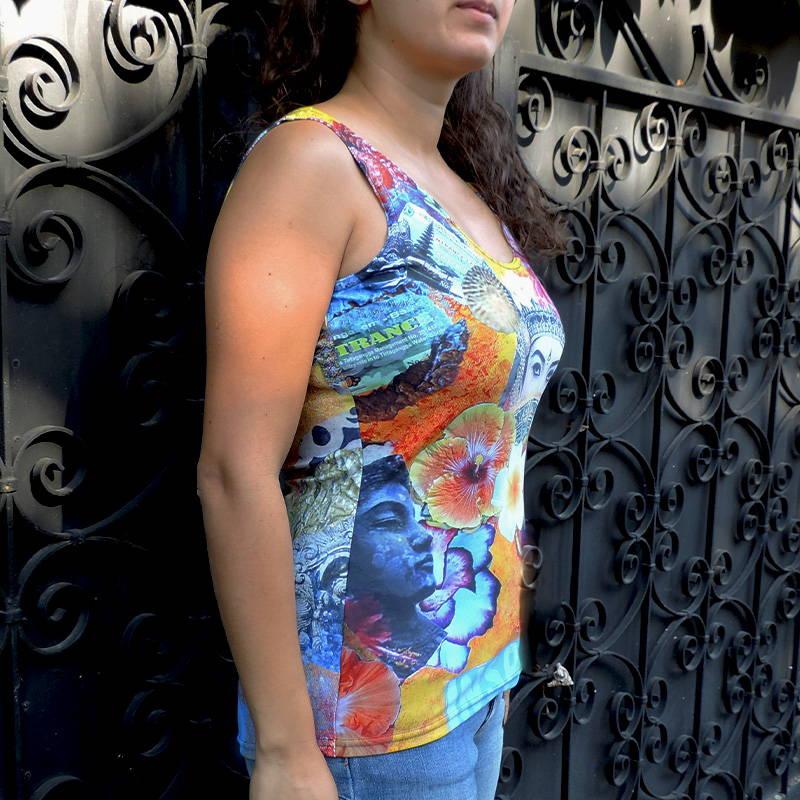 T shirt-voyage-bali-été-plage-vacances-top sans manches-fleurs-inspiration-beau-motif-imprimé-floral