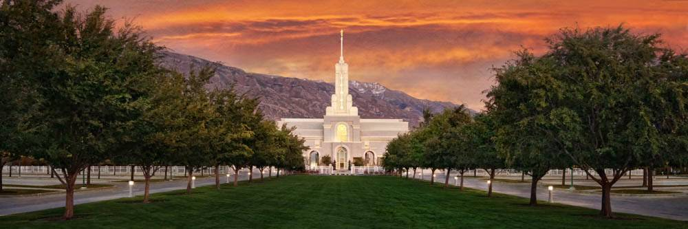 LDS art panoramic photo of the Mount Timpanogos Temple against an orange sunrise.