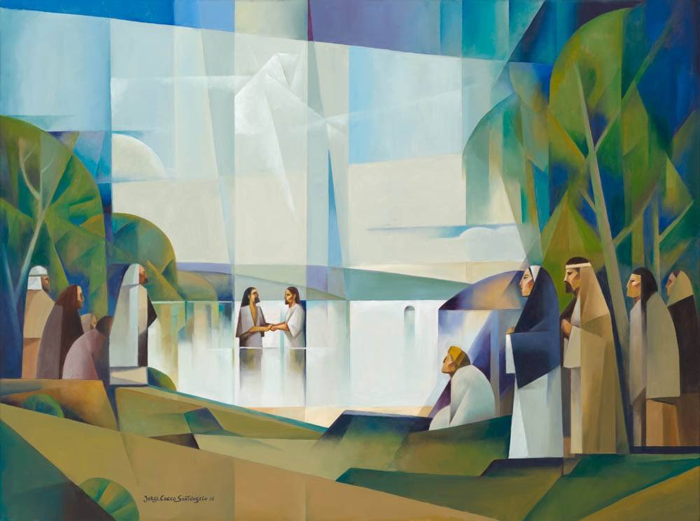 LDS art abstract painting of Jesus' baptism in the Jordan River.
