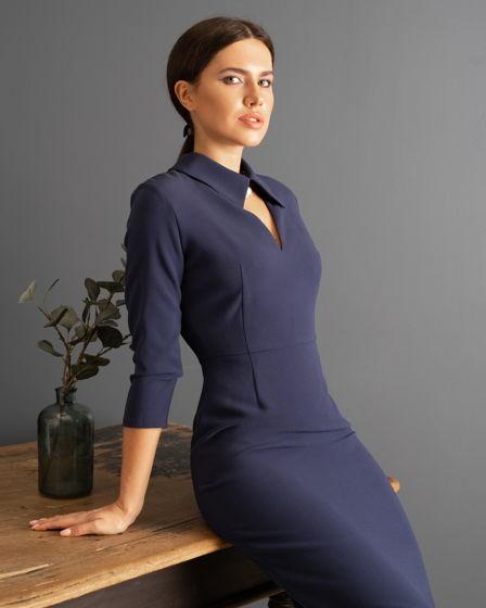 Платье-футляр MurMur с V-образным вырезом и воротником