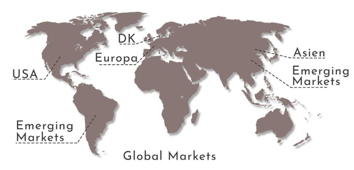 Et verdenskort, som viser at emerging markets primært er i Asien og Sydamerika