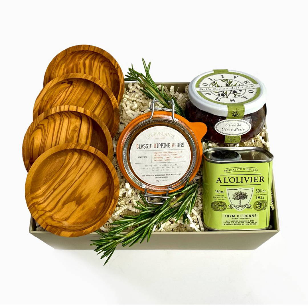 Gourmet olive oil dipping gift box, gourmet gift boxes for mother's day, send mom curated gift box, gifts for mother's day