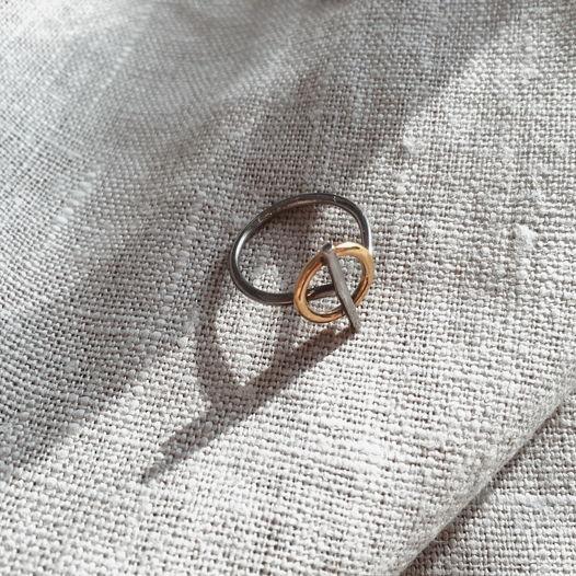 Кольцо 'Binary' серебро с позолотой и чёрным родием