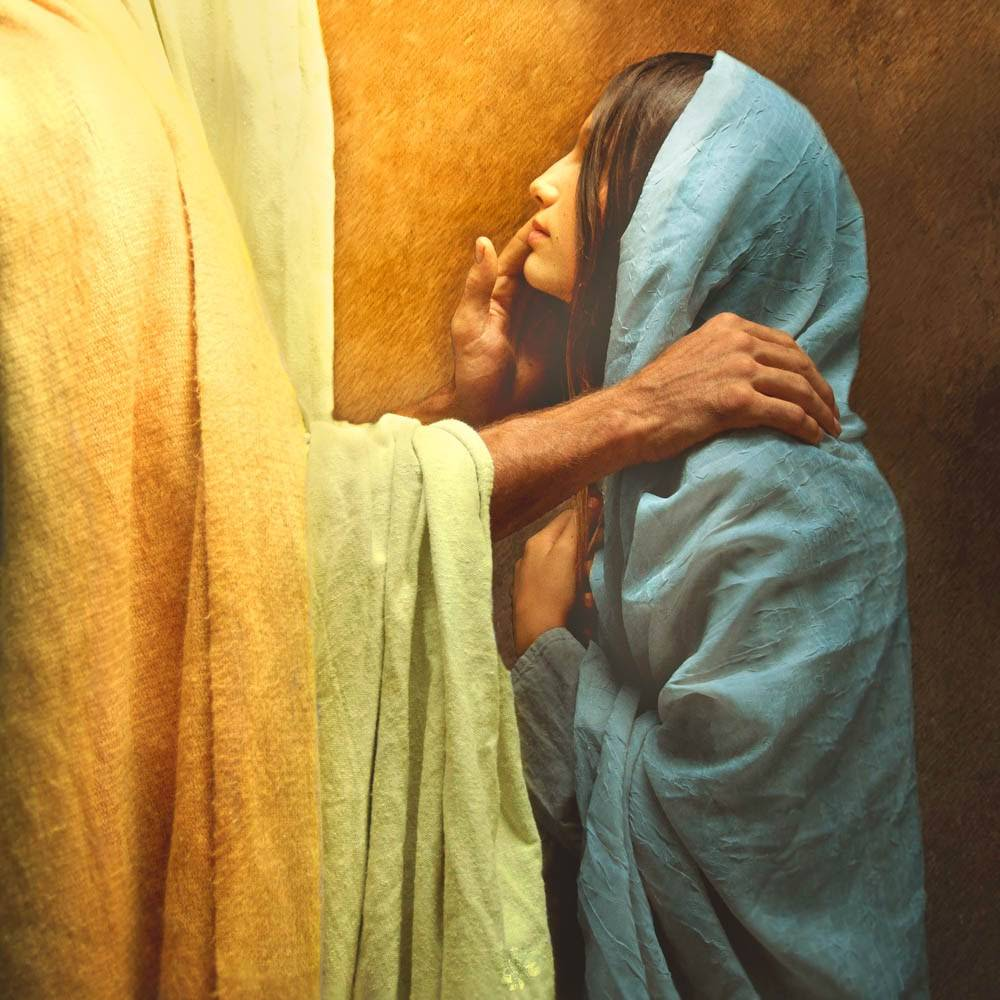 Jesus comforting a young woman who is looking up at Him.