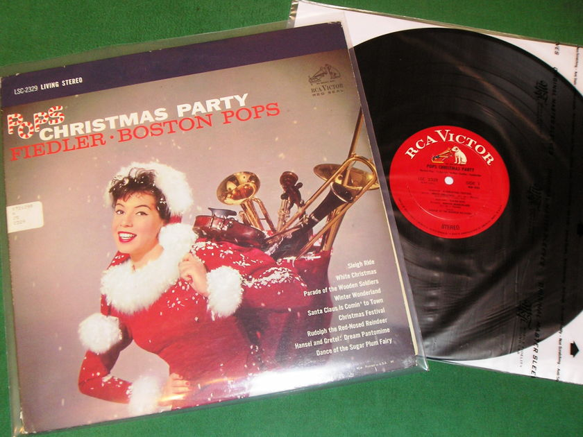 FIEDLER - BOSTON POPS - POPS CHRISTMAS PARTY - * 1959 RCA RED SEAL - WHITE DOG * NM 9/10