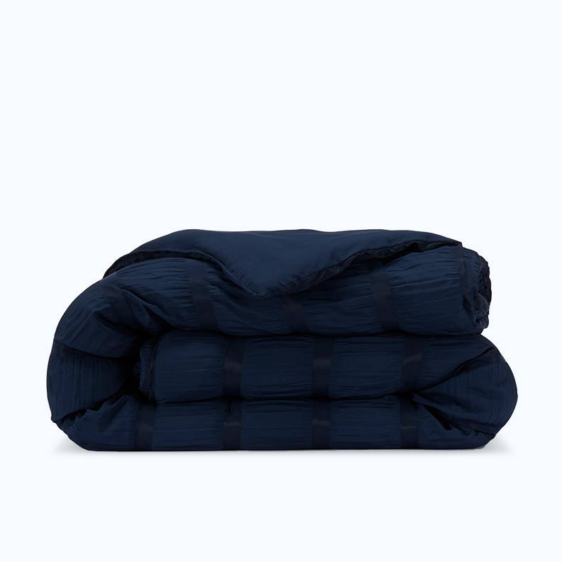 sleep zone bedding website store products collection modern luxe seersucker comforter navy blue
