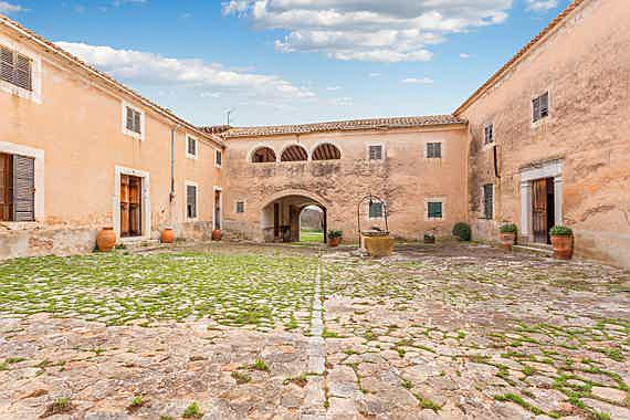 "Llucmajor, Mallorca - ""Sa clastra"" of the historic estate from the 13th century in Alaró, Mallorca"