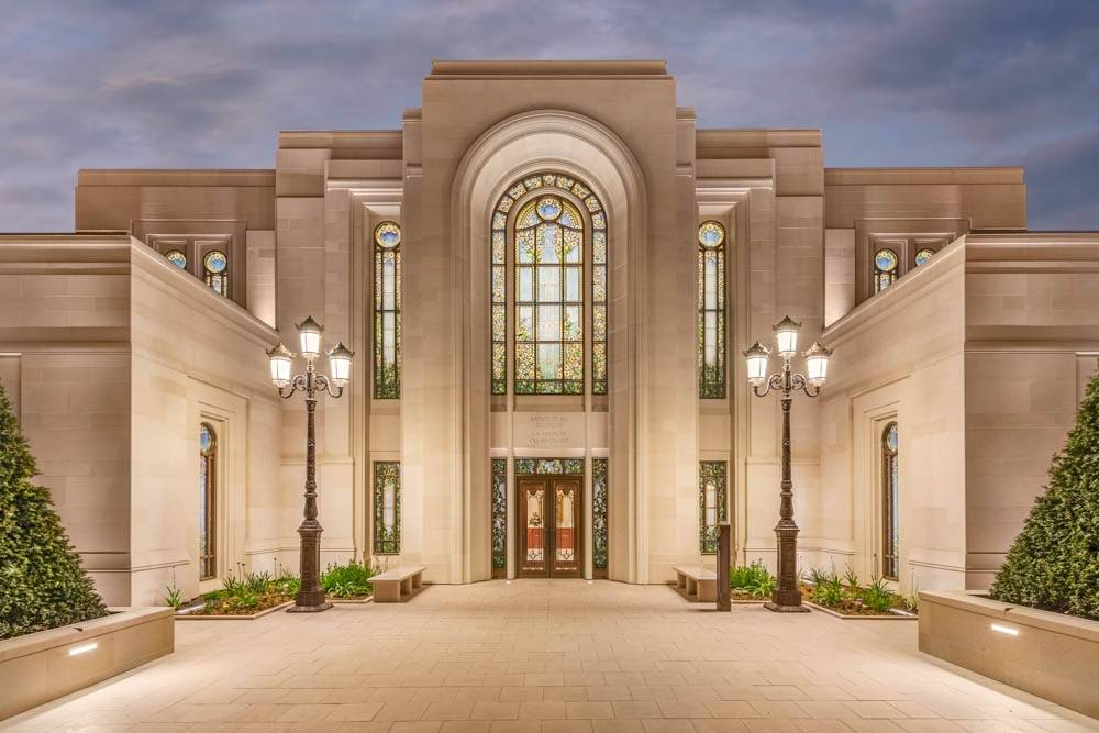 Photo of the Paris France Temple, featuring the stained glass windows.