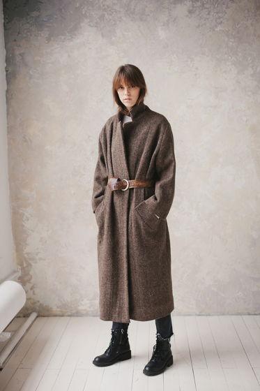 зимнее шерстяное пальто на хлопковой подкладке *грецкий орех*