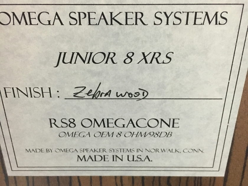 Omega Speaker Systems Junior 8XRS Mint! <Month Old