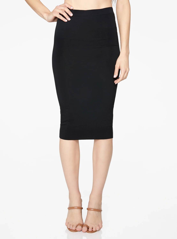 Basic Black Knit Midi Skirt
