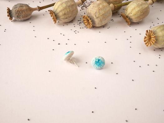 "Серьги ""Glass"" голубые серебряная фурнитура"