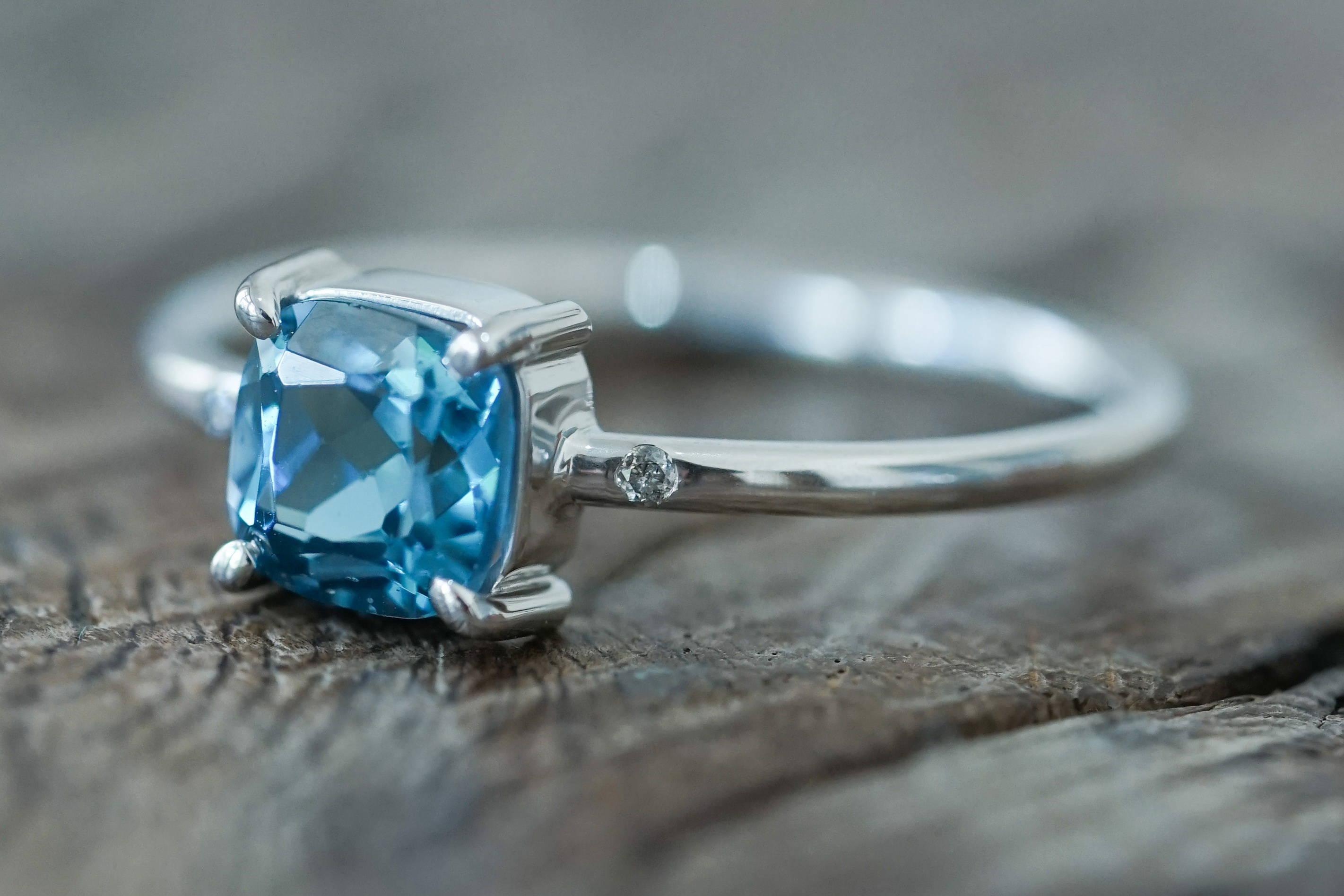Custom ethical gold topaz ring