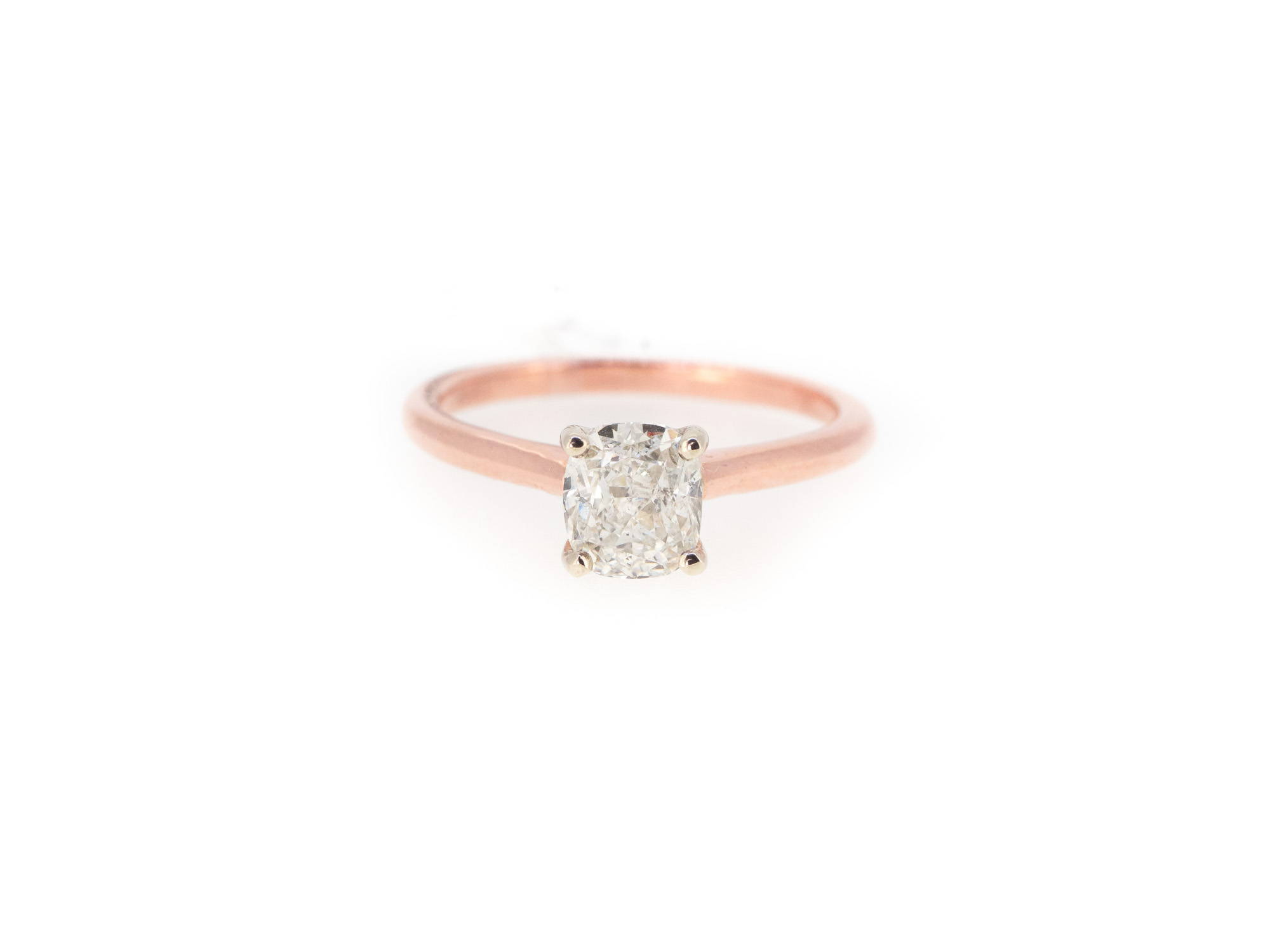 rose gold cushion cut diamond ring