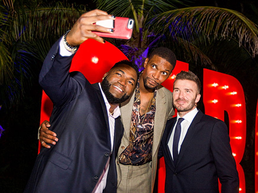 Sintra - F.l.t.r.: Red Sox player David Ortiz with basketball player Chris Bosh and David Beckham, © Infinite Creations
