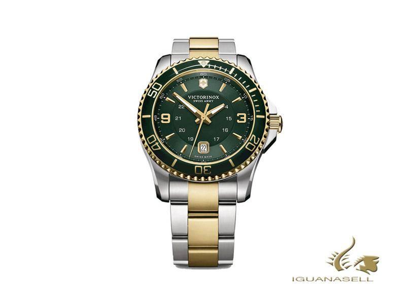 VICTORINOX MAVERICK QUARTZ WATCH, GREEN, 43 MM, STAINLESS STEEL AND GOLD PVD