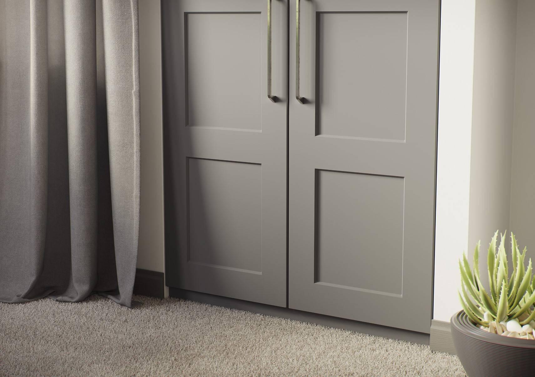 Grey modern bespoke wardrobe doors